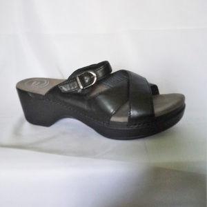 Dansko Sela Leather Strappy Wedge Sandals/Mules
